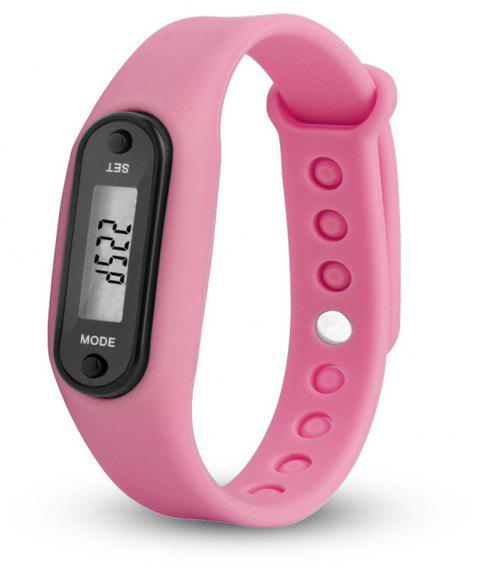 Sport Watch Digital LCD Silicone Band Pedometer Distance Calorie Counter - PINK