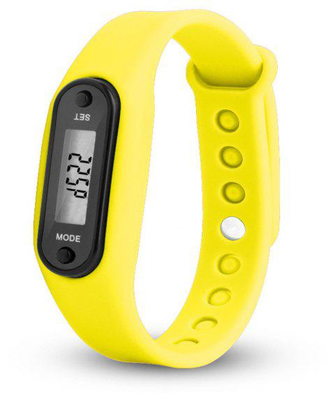 Sport Watch Digital LCD Silicone Band Pedometer Distance Calorie Counter - YELLOW
