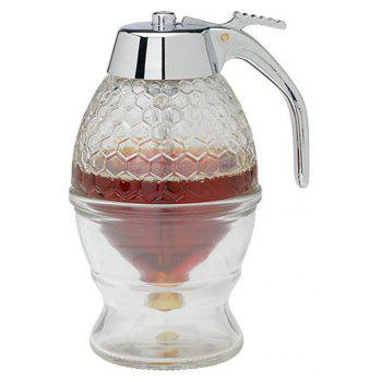 Honey Syrup Dispenser Glass Pot Vintage Honeycomb Container - multicolor