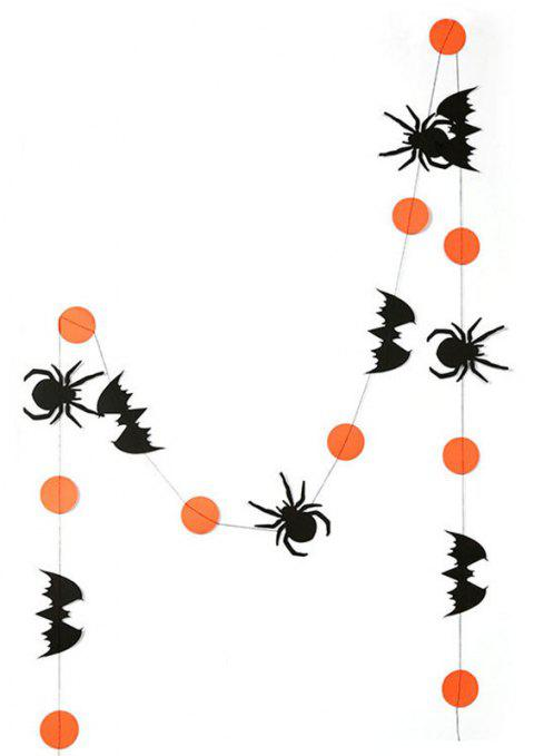 Halloween Horror Spider Orange Paper Banner Hanging Garland - multicolor A