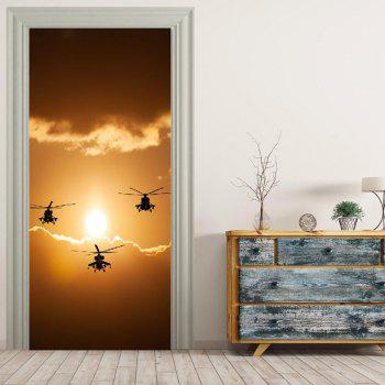 MailingArt 3D HD Canvas Print Door Wall Sticker Mural Home Decoration Helicopter - multicolor 77 X 200CM