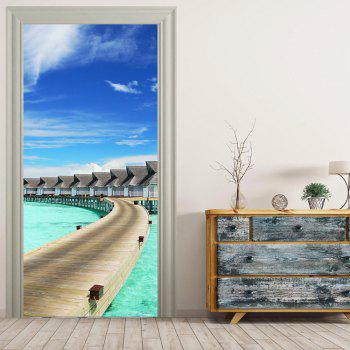 MailingArt 3D HD Canvas Print Door Wall Sticker Mural Home Decoration Maldives - multicolor 77X200CM