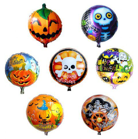 Halloween Party Pumpkin Ghost Skull Foil Round Shape Balloon - multicolor