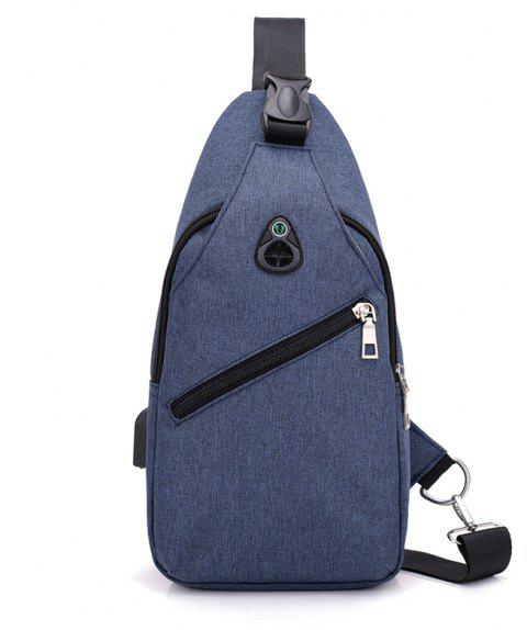 WANGKA Casual Travel Single Shoulder USB Charging Chest Crossbody Bag - CADETBLUE REGULAR
