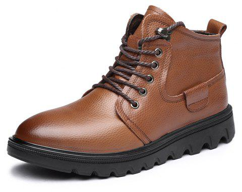 MUHUISEN Winter Casual Warm Lace Up Comfortable Flats Male Work Snow Boots - BROWN EU 38