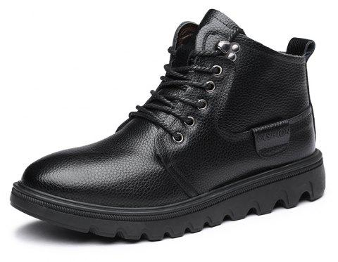 MUHUISEN Winter Casual Warm Lace Up Comfortable Flats Male Work Snow Boots - BLACK EU 44