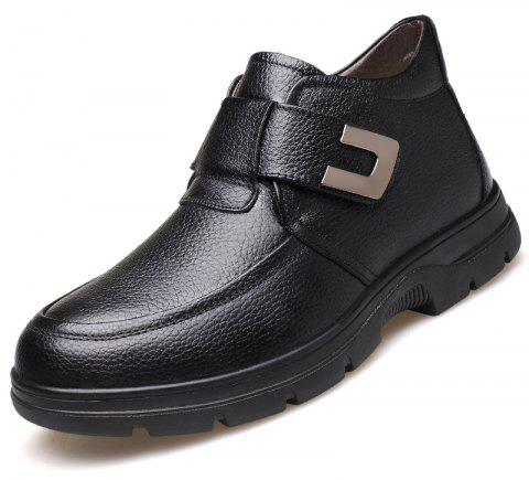 MUHUISEN Men Boots Winter Plush Warm Casual Male Shoes - BLACK EU 40