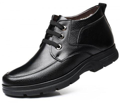 MUHUISEN Winter Leather Men Boots Plush Comfortable Casual Male Flats Shoes - BLACK EU 42