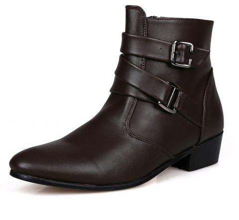 Men's High-Top Leather Shoes - BROWN EU 43