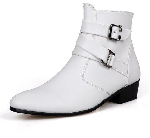 Men's High-Top Leather Shoes - WHITE EU 45