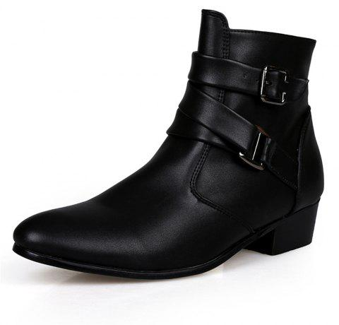 Men's High-Top Leather Shoes - BLACK EU 46