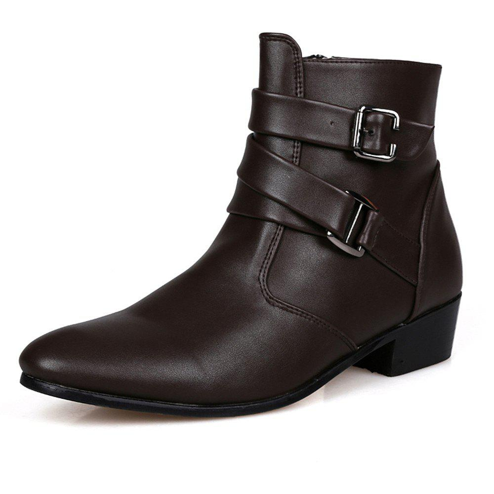 Men's High-Top Leather Shoes - BROWN EU 46