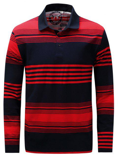 FREDD MARSHALL Men's Long Sleeve Striped Polo Shirt - RED L