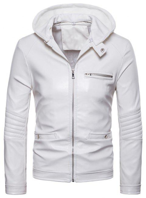 Men's Fashion Leather Jacket Casual Hooded Slim - WHITE M