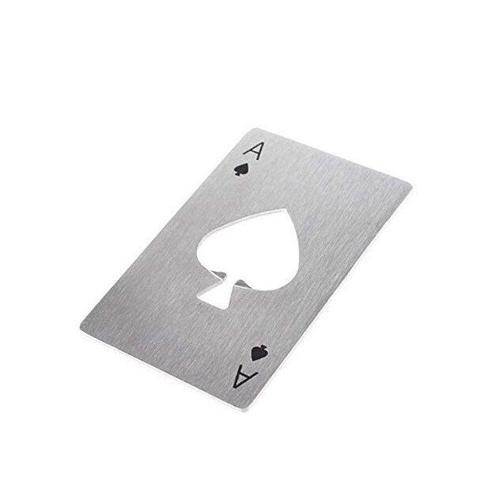 Playing Card Ace of Spades Poker Bar Tool Bottle Soda Beer Cap Opener Gift - SILVER