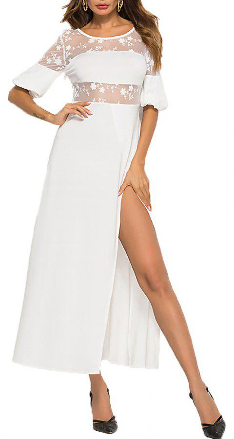 Women's Mesh Patchwork Short Pantern Sleeve Slim Waist High Split Maxi Dress - WHITE L