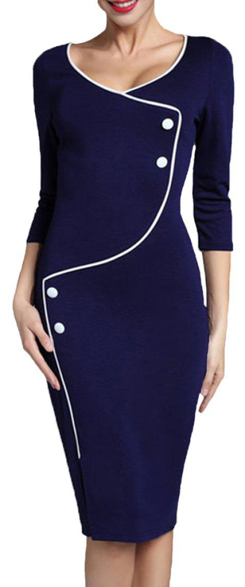 Women's Solid Color Buttons Decoration Split Office Pencil Dress - BLUE 3XL