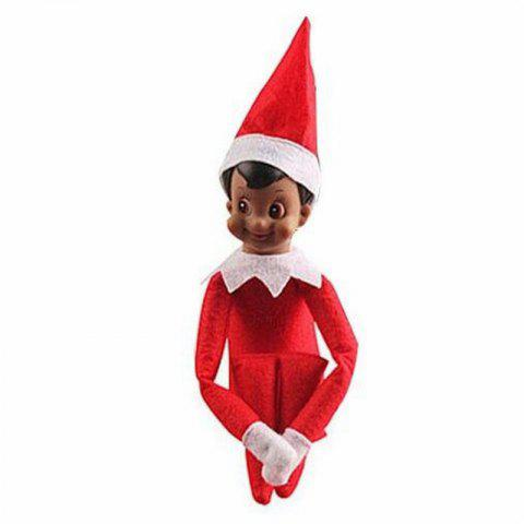 Christmas Elf Soft Toy Smiley Face Sits On Shelf - ROSSO RED