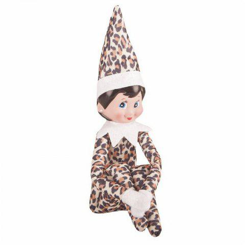 Christmas Elf Soft Toy Smiley Face Sits On Shelf - LEOPARD