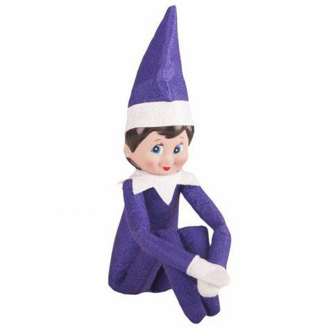 Christmas Elf Soft Toy Smiley Face Sits On Shelf - LOVELY PURPLE