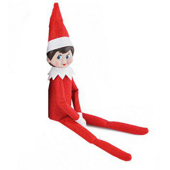 Christmas Elf Soft Toy Smiley Face Sits On Shelf - RED