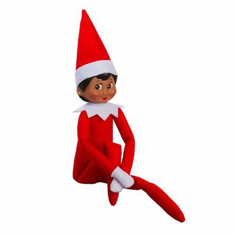 Christmas Elf Soft Toy Smiley Face Sits On Shelf - RUBY RED