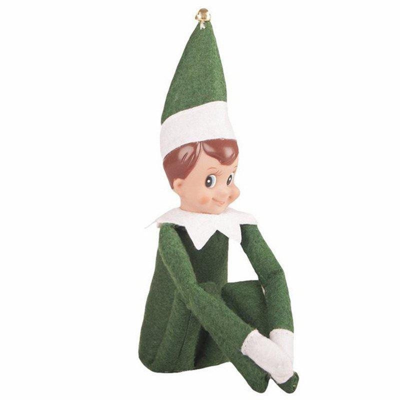 Christmas Elf Soft Toy Smiley Face Sits On Shelf - JUNGLE GREEN