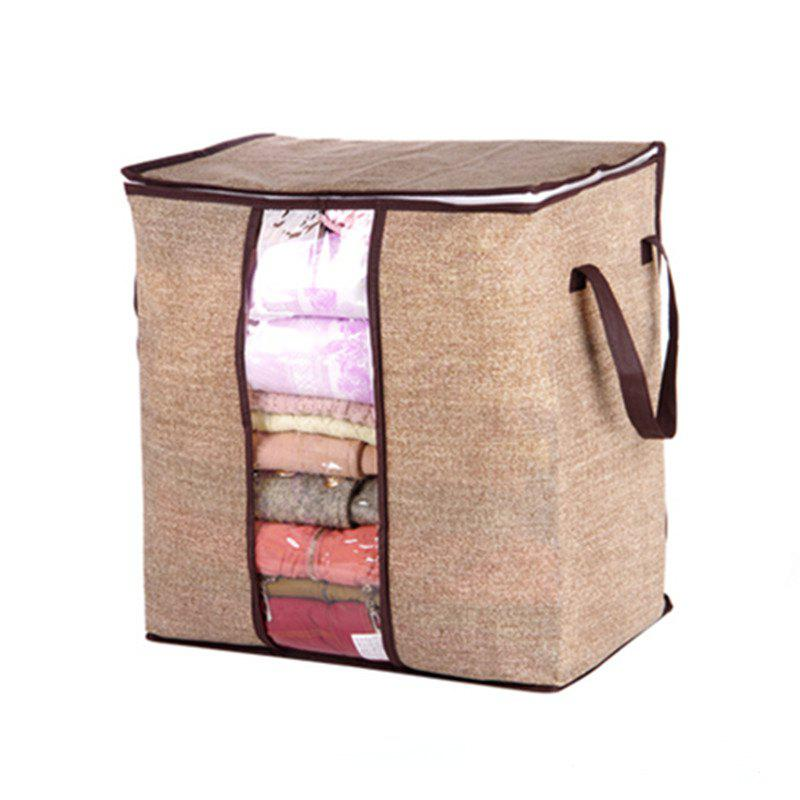 Non-woven Portable Clothes Storage Bag  For Pillow Quilt Blanket - BROWN