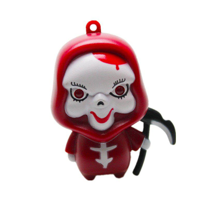 Ghost Reaper LED Illuminated Keychain Halloween Christmas Holiday Gift Pendant - RED