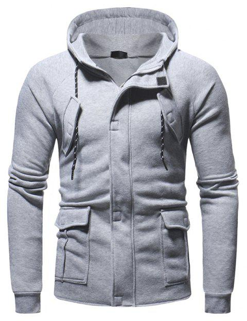 Men's Casual Sports Fashion Hooded Sweater - LIGHT GRAY XL