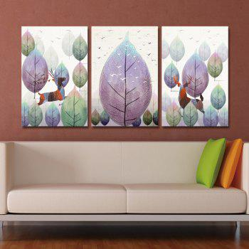 DYC 3PCS Wild Deer Running in The Forest Print Art - multicolor