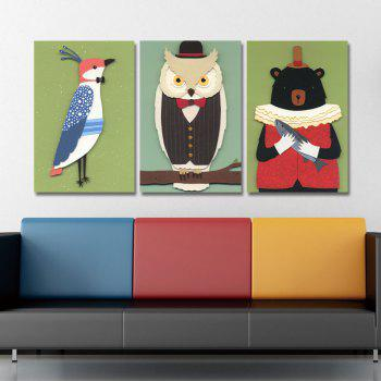 DYC 3PCS Funny Cartoon Animals Print Art - multicolor