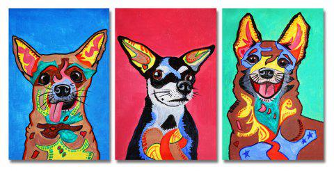 DYC 3PCS Cute Funny Puppy Print Art - multicolor