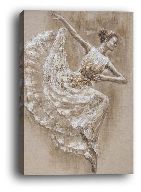 Framed Canvas Abstract Partial Dance Girl Hotel Porch Background Wall Print - multicolor 35CMX50CM
