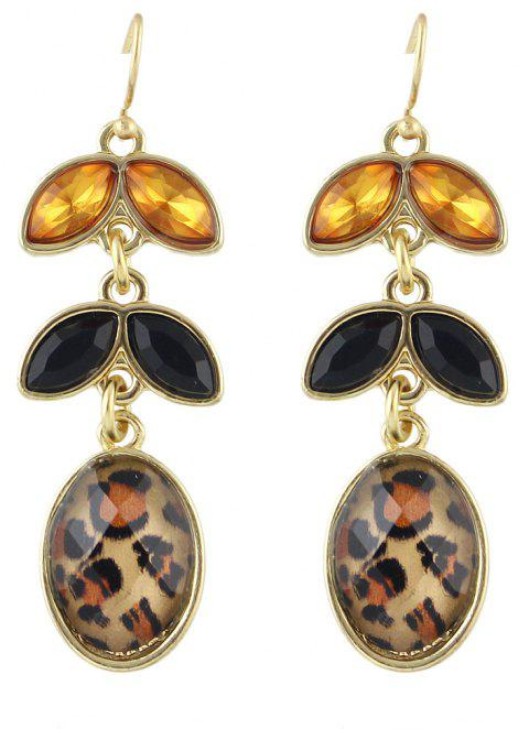 Fashion Leopard Geometry Gemstone Pendant Earrings - multicolor