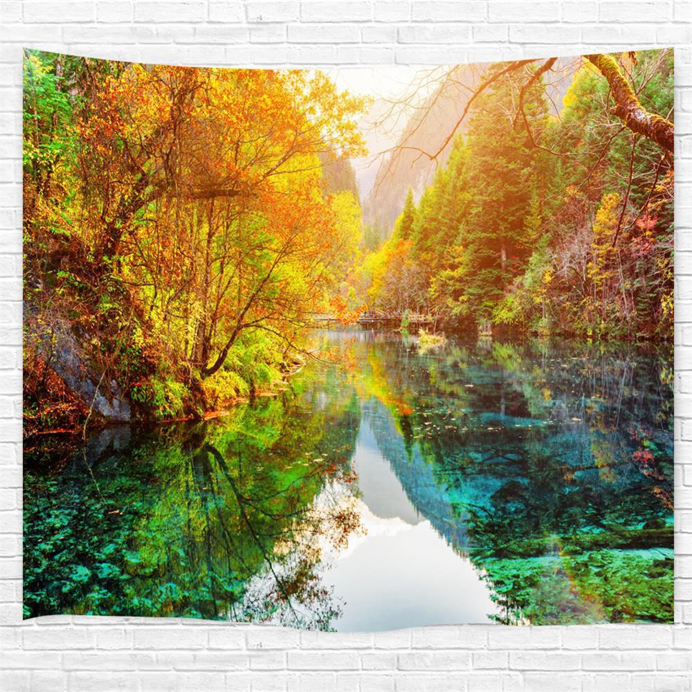 The Lake Forest 3D Printing Home Wall Hanging Tapestry for Decoration - multicolor W229CMXL153CM