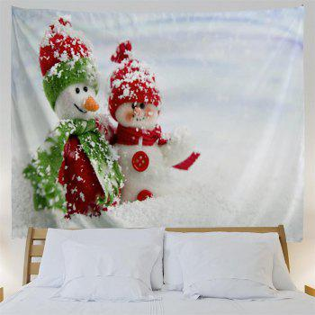 Red Green Snowman 3D Printing Home Wall Hanging Tapestry for Decoration - multicolor W153CMXL130CM