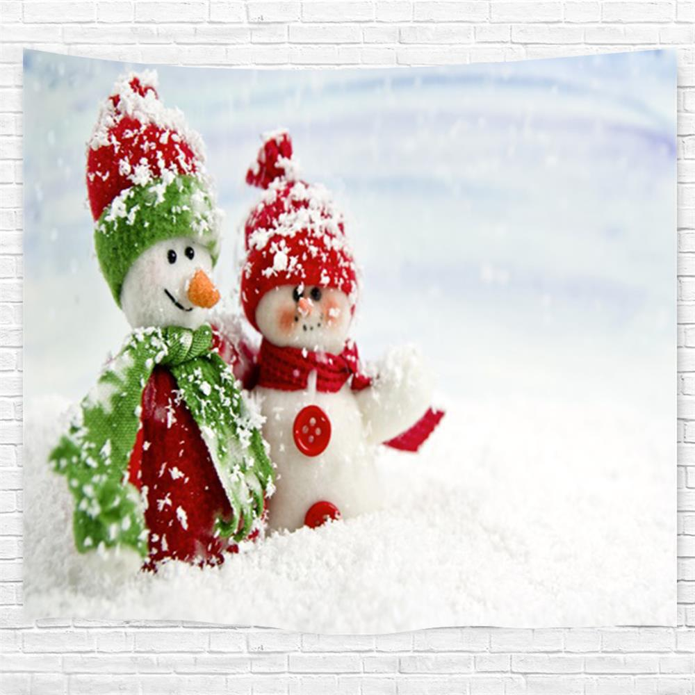Red Green Snowman 3D Printing Home Wall Hanging Tapestry for Decoration - multicolor W153CMXL102CM