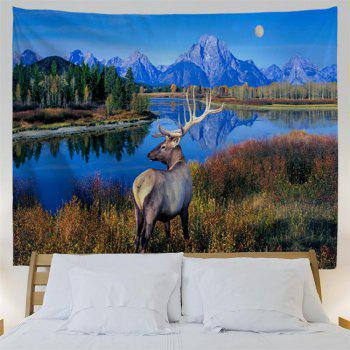The Lake Milu Deer 3D Printing Home Wall Hanging Tapestry for Decoration - multicolor W153CMXL102CM