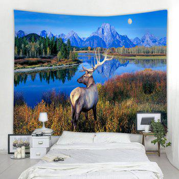 The Lake Milu Deer 3D Printing Home Wall Hanging Tapestry for Decoration - multicolor W200CMXL180CM