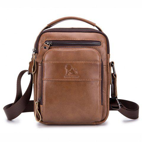 New Men's Leather Portable Small Crossbody Bag - BROWN BAG