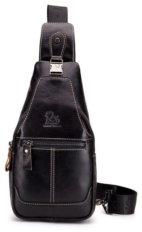 Leather One-shoulder Slanted Chest Crossbody Bag for Men - BLACK
