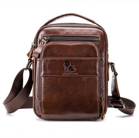 New Men's Leather Multifunction Shoulder Bag - DEEP COFFEE