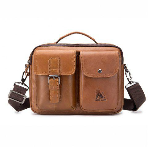 Men's Large Capacity Single Shoulder Messenger Bag - LIGHT BROWN