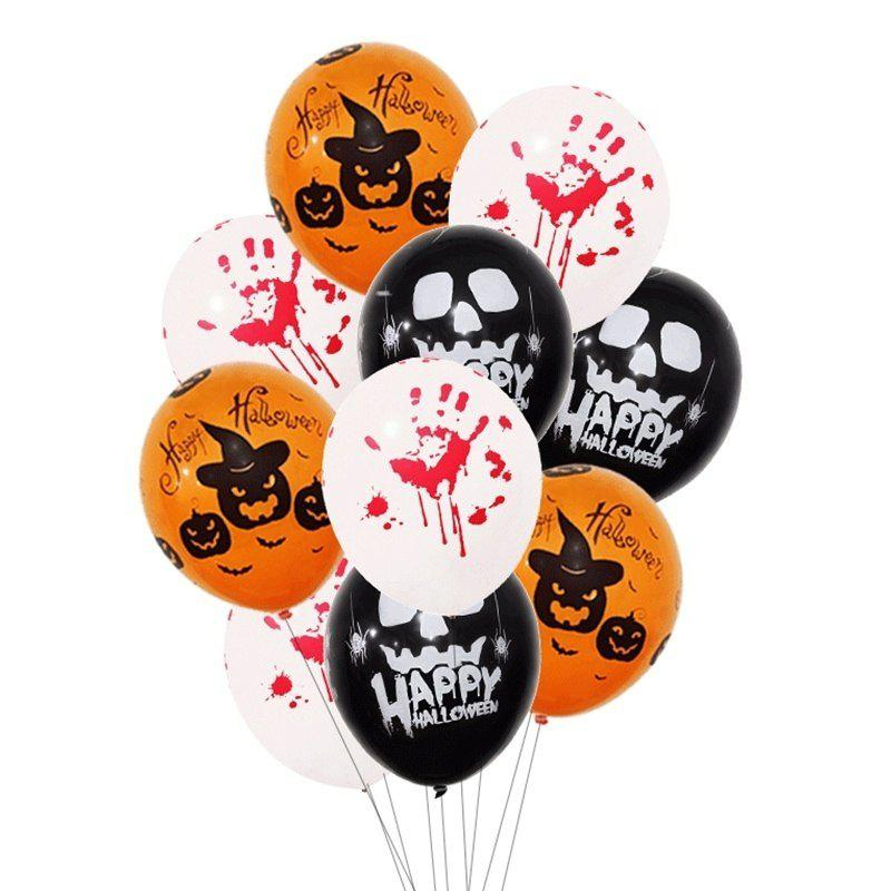 9pcs 12 Inch Latex Balloons Spider Web Pumpkin Party Decor Halloween Decoration - multicolor