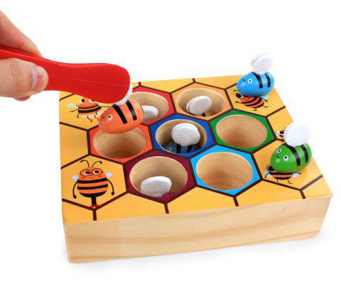Children Preschool Wooden Clip Bee Out Box Montessori Educational Toy Gift - multicolor