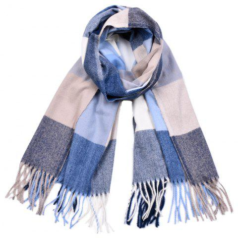 Women Yarn Dyed Shawls Pashmina Plaid Tassel Cashmere Scarves - multicolor E
