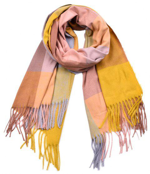 Women Yarn Dyed Shawls Pashmina Plaid Tassel Cashmere Scarves - multicolor A
