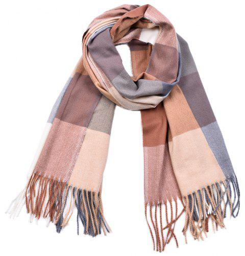Women Yarn Dyed Shawls Pashmina Plaid Tassel Cashmere Scarves - multicolor F