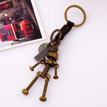 Personality Creative Couple Screw Robot  Leather Keychain - BRONZE